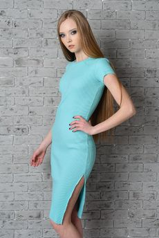 Трикотажное голубое платье FIORITA