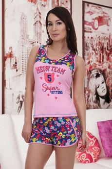 Розовая пижама с шортами Натали