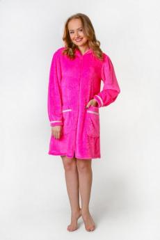Плюшевый розовый халат Милана со скидкой